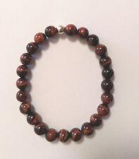 Men's Red Tiger Eye Stone Beaded  Bracelet