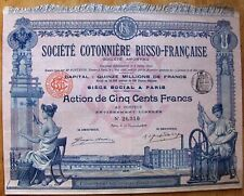 Russian French Cotton Society 500 Fr. bond dated 1910  Paris