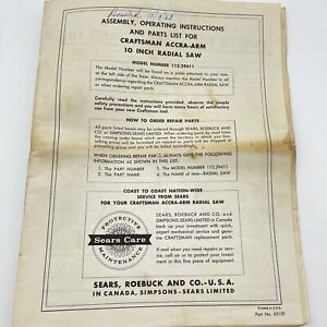 Sears Craftsman 113.29411  Accra-Arm 10 inch Radial Saw Instructions 1968