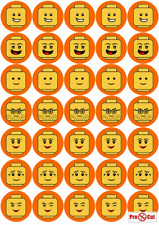 35 Lego Faces Cupcake Cake Toppers Decorations Edible Wafer Paper *Pre Cut*