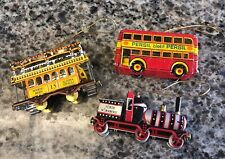 3 TIN TOYS~VINTAGE (ZZ) ZIMMERMANN ZIRNDORF GERMANY-train, Trolley Double Decker