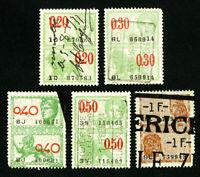 Belgium Stamps # VF Set of 5x Revenues Used