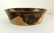 Hand Wheel Thrown Clay Pottery Bowl Signed Brown Beige Glazed Natural Primitive