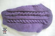 Purple cable knit sweater for dogs-size Small-handknit in USA