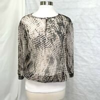 Chico's M Sz 1 Top Blouse Brown Animal Print Sheer 3/4 Sleeve 1/4 Button #a