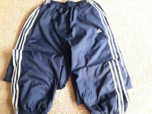 Adidas Draw String Cotton Lined Nylon Running Track Pants Wind Rain Size Large