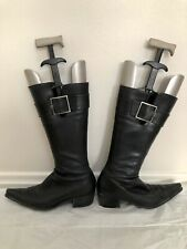 Sergio Rossi Black Leather Buckle Boots 38 1/2
