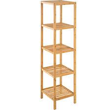 Scaffale in legno espositore libreria mensole bamboo bagno dispensa 5 ripiani
