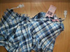 Juicy Couture Scarf Wilderness Blue Plaid Tassels NEW $68