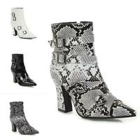 British Womens Block Heel Pointy Toe Buckle Ankle Boots Motor Punk Shoes US 4-13