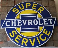 VINTAGE CHEVROLET PORCELAIN GAS TRUCKS BOWTIE SERVICE STATION PUMP PLATE SIGN