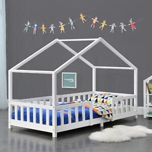 Kinderbett mit Rausfallschutz 90x200cm Haus Holz Weiß Bettenhaus Hausbett Bett
