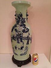 Chinese Celadon V.Large Baluster Floor Vase of Figures & Landscape 1900 - 1930