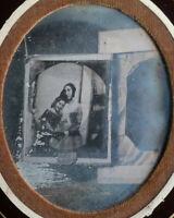 RARE Daguerreotype 1/6 plaque - Photo d'un Daguerréotype sur Chambre - c.1845