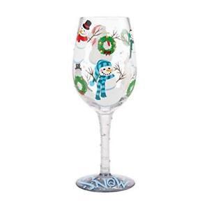 Enesco Designs by Lolita Jolly Snowmen Hand-Painted Artisan Christmas Wine Glass