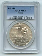 1991 D $1 Korean War Silver Commemorative Dollar PCGS MS70