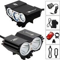 12000LM T6 luz de bicicleta LED frente cabeza bicicleta lámpara faro batería AC