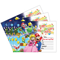 20 x Super Mario Kids Child Birthday Party Invitations Invites Cards Boys Girls