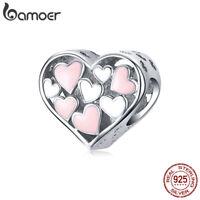 BAMOER S925 Sterling silver Charm Pink Enamel Romance heart Fit Bracelet Jewelry