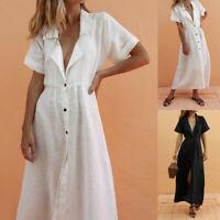 Fashion Women V Neck Slim Summer Cotton Lapel Botton Lazy Beach Maxi Dress