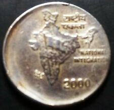 India Republic Two Rupees 2000-H off center strike error coin