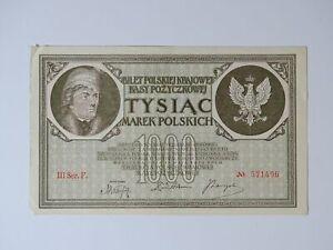 ➤ Banknote 1000 Marek Polskich Mark Tysiac 1919 Poland, III Ser.F. Nr. 571496 ➤
