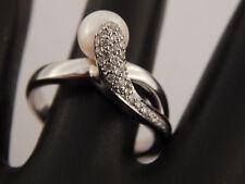 Estate 18k White Gold Natural PEARL & Diamond Snake E/VS High End Designer Ring