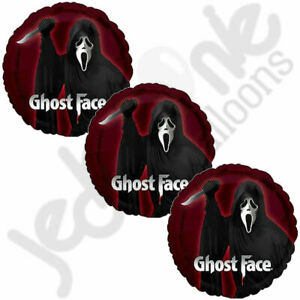 3 pc Scream Ghost Face Balloon Bouquet Happy Halloween Party Decoration Spooky