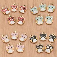 Cute Enamel Owl Charms Pendants for DIY Necklace Bracelets Decor Jewelry Making