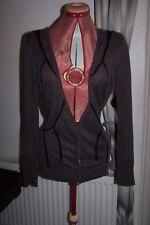 Genuine DIESEL – GREY BLACK linen & cotton L/S slouch CARDIGAN S 8 10 tie back