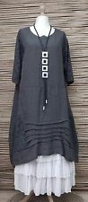 """LAGENLOOK BEAUTIFUL STUNNING LINEN LACE A-LINE DRESS*CHARCOAL*BUST UP TO 48"""""""