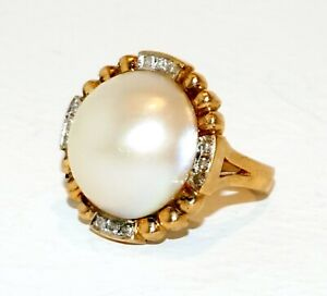 Vintage 14k Yellow Gold Ring Sz.5 set w. Mabe Pearl & 12x Diamonds (GoH)#11a