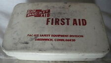 Vintage First Aid Pac Kit Safety Equipment Metal Box with Contents