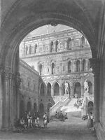 Italy DOGES DUCAL PALACE VENICE  ~ 1845 Baroque Architecture Art Print Engraving