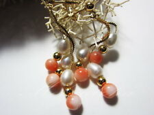 Genuine Solid 14k  Triple Dangle Kinetic Earring-Hawaii Natural Pink Coral