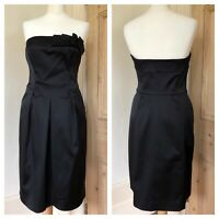 Coast Black Satin Summer Occasion Wedding Races Strapless Cruise Dress Size 12