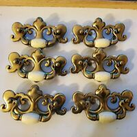 Vintage Lot Of 6 beige ceramic & Brass Colored Drawer / dresser handle Pulls 5""