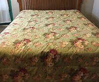 Vintage Waverly Norfolk Rose Bouquet Comforter Sage Green Queen