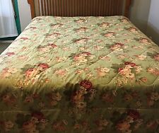 Vintage Waverly HTF Green Norfolk Rose Bouquet Comforter Sage Queen