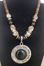 Antique Silver Round Black Acrylic Pendant Bead Natural Coconut  Bead Necklace