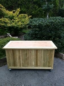 The Woodchester Rustic Tanalised Timber Outside Storage Box Chest Hinged Lid