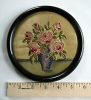 Antique 1880 Embroidery Painted on Silk Needlework Flowers Round Hand Work Frame