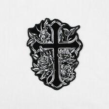 Biker Chopper Motorrad Cross & Roses Rosen Kreuz Aufbügler Aufnäher Patch NEU