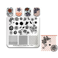 BORN PRETTY Lace Flower Nail Stamping Plates Image DIY Stamp Templates Nail Tool