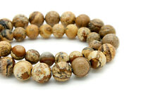 Picture Jasper Smooth Round Ball Sphere Loose Gemstone 8mm Beads - 2.5mm hole