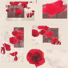RASCH FLOWER PATTERN FLORAL POPPY MOTIF PHOTO EMBOSSED VINYL WALLPAPER RED WHITE
