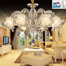 Geniune Crystal Chandelier 6 Lights Metal Arms Pendant Ceiling Lamp E14 Bulbs
