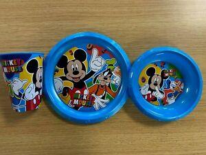 MICKEY MOUSE Plate Bowl Beaker Cup Children's Breakfast Dinner Set  DISNEY *NEW*