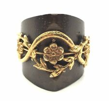 Sterling Silver Ancient Wooden Gold Tone Floral Pattern Swirl Cocktail Ring 7.25