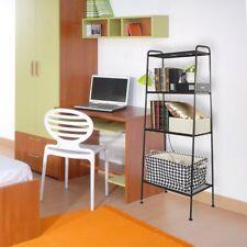 4-Tier Bookcase Bookshelf Wall Shelf Storage Leaning Shelves Decor Black